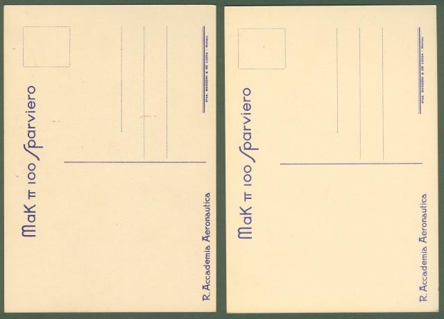 Aviazione. MAK TT 100 SPARVIERO. Due cartoline disegnate a colori per la Reale Accademia Aeronautica.