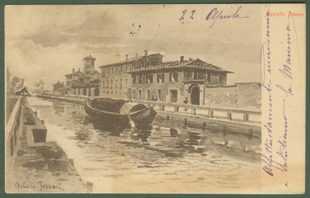 Pavia, Naviglio Pavese. Bella cartolina disegnata in seppia da Arturo Ferrari.