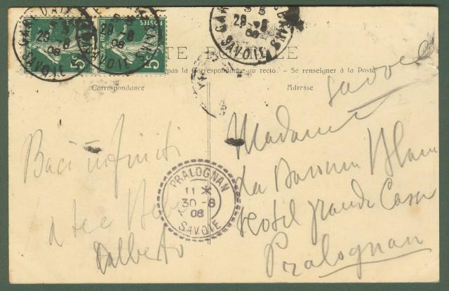 Francia. France. Saone - Loire. Mont Beuvray. Chapelle Saint Martin. Congrà¨s Prèhistorique de France. Autun, 1907. Cartolina d'epoca viaggiata nel 1907.