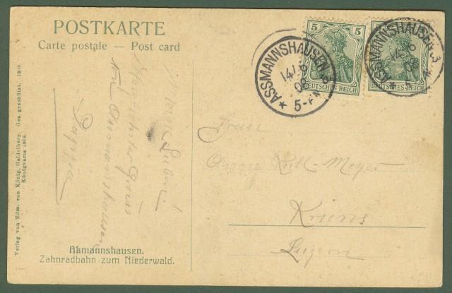 GERMANIA. Assmannshausen. Zahnradbahn zum Niederwald. Viaggiata 1908
