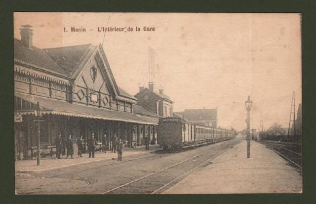 BELGIO. Fiandre. Menin. L'Interieur de la Gare. Viaggiata 1917.