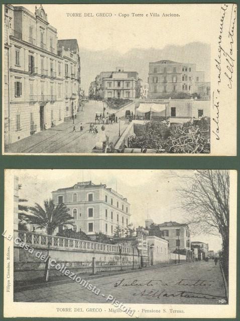Campania. TORRE DEL GRECO (Napoli). Due cartoloine viaggiate nel 1904.