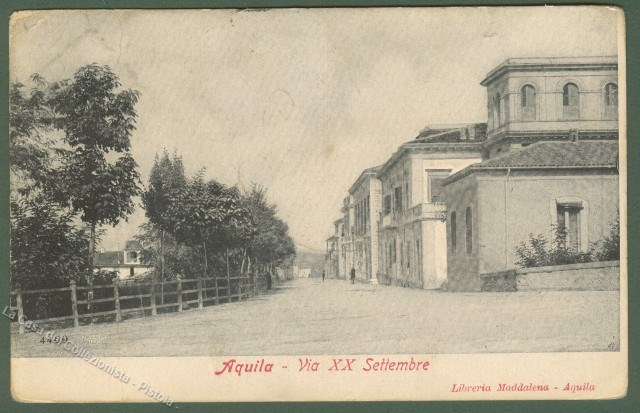 ABRUZZO. AQUILA. Via xx Settembre. Cartolina d'epoca, viaggiata nel 1907.