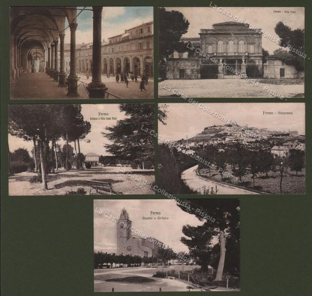 MARCHE. FERMO,  Cinque cartoline, di cui due viaggiate nel 1908 e nel 1925.