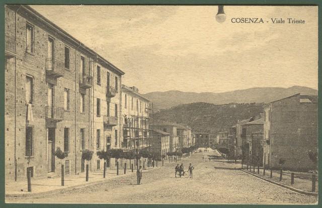 (Calabria) COSENZA. Viale Trieste. Cartolina d'epoca viaggiata nel 1928.