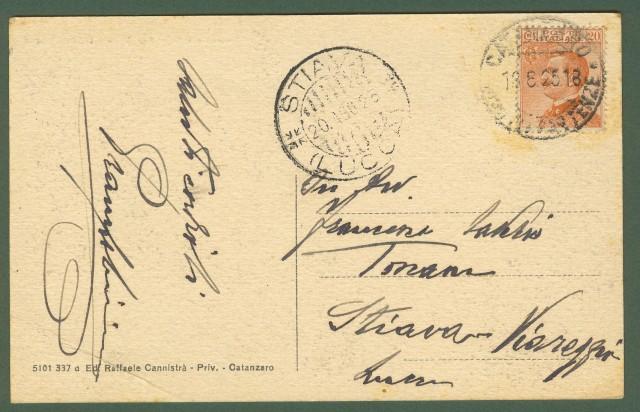 (Calabria) CATANZARO. Paborama dalla Villa. Gruppo di persone. Cartolina d'epoca viaggiata nel 1925.