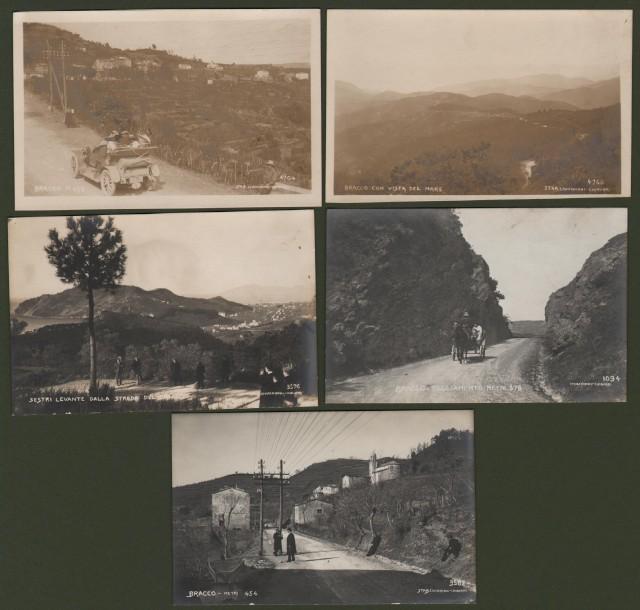 LIGURIA '– STRADA DEL BRACCO. 5 interessanti cartoline fotografiche di cui 4 con animazioni. Non viaggiate, inizio ''900.
