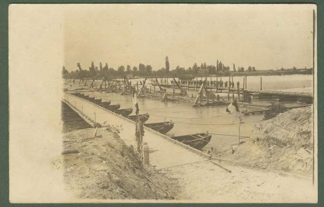 FRIULI. GORIZIA. FIUME ISONZO. Il ponte distrutto, bella cartolina fotografica del 3.8.1915