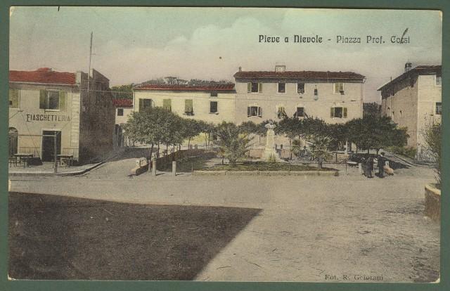 (Toscana - Pistoia) PIEVE A NIEVOLE. Piazza Prof. Corsi. Cartolina d'epoca a colori viaggiata nel 1912.