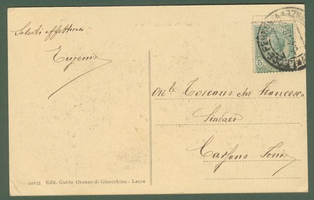 (Puglia) LECCE. Via Giuseppe Palmieri animata da molte persone. Cartolina d'epoca viaggiata nel 1918.