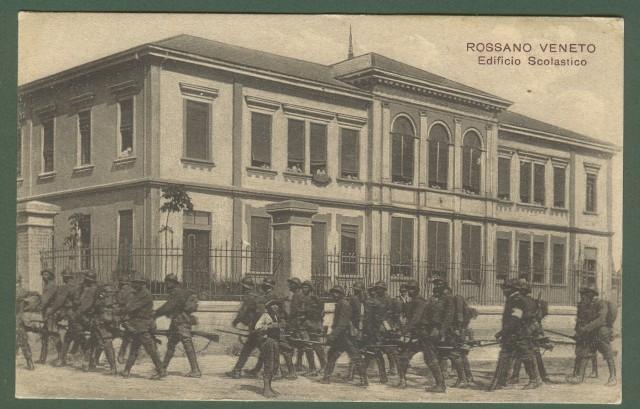 ROSSANO VENETO, Vicenza. Edificio scolastico. Cartolina d'epoca non viaggiata, circa 1915