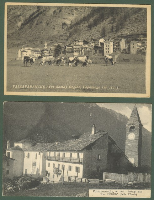 VALSAVARANCHE. Val d'Aosta. Due cartoline d'epoca di Degioz