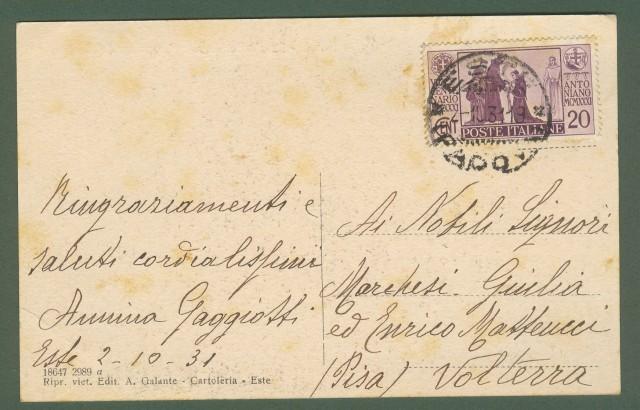 ESTE (Padova). Via Vico di Torre e Particolare del Castello. Cartolina d'epoca viaggiata nel 1931.