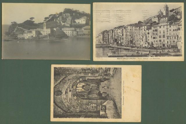 PORTOVENERE. LA SPEZIA, tre cartoline d'epoca, una fotografica