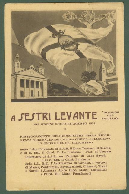 SESTRI LEVANTE, Genova. Festa del 1928. Cartolina d'epoca viaggiata nel 1928