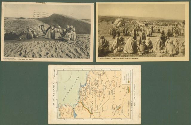 LIBIA. TRIPOLITANIA. Tre cartloine d'epoca viaggiate tra il 1923-1934