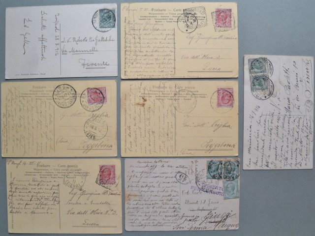 LIBIA. 7 cartoline da Tripoli a Bengasi. Tutte viaggiate tra il 1911 e il 1915