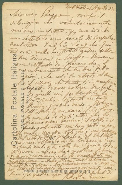 PAGNOLLE. PONTASSIEVE (Fi). Cartolina d'epoca fotografica. Viaggiata in busta nel 1903