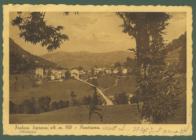 FRABOSA SOPRANA,  Cuneo. Panorama. Cartolina d'epoca viaggiata nel 1939