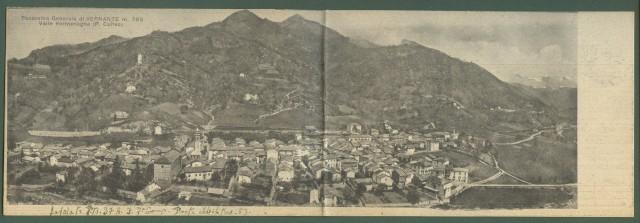 VERNANTE, Cuneo. Panorama. Cartolina de'poca doppia