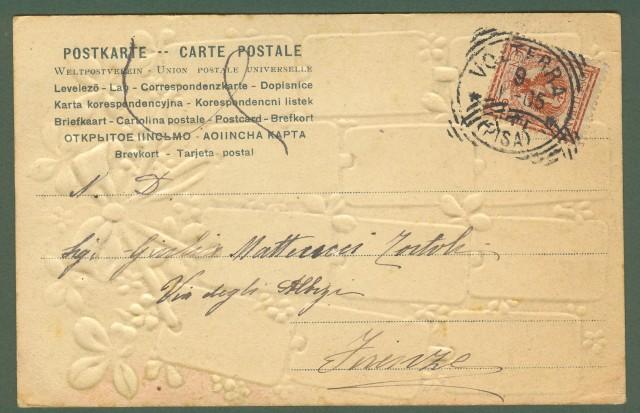 Cartolina calendario dell'anno 1905. A colori e a rilievo. Viaggiata nel 1905.