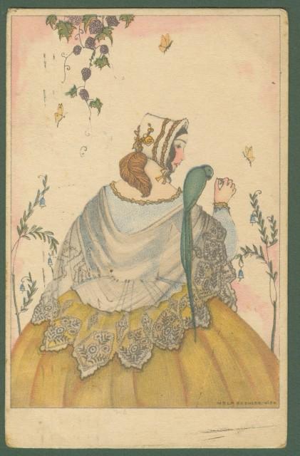 MELA KOEHLER. Giovane donna con pappagallo. Cartolina d'epoca viaggiata nel 1924.