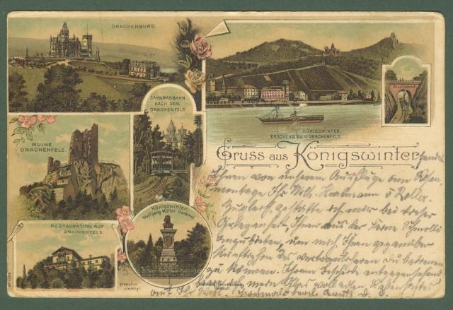 GERMANIA. Gruss aus Konigwinter. Cartolina d'epoca viaggiata nel  1899.