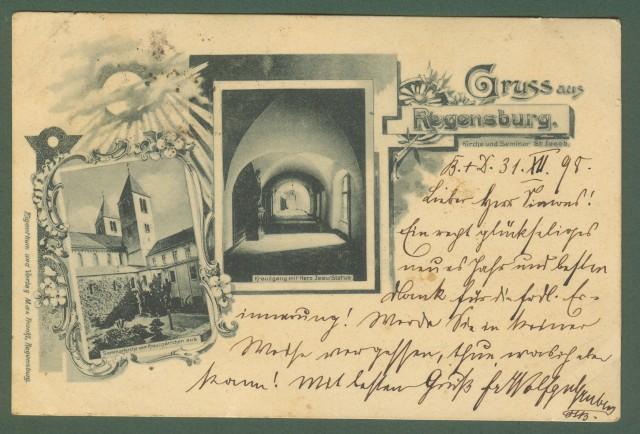 GERMANIA. Gruss aus Regensburg. Cartolina d'epoca viaggiata nel 1898