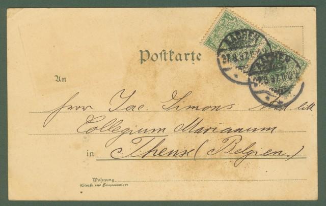 GERMANIA. Gruss aus Aachen. Cartolina d'epoca viaggiata nel 1897