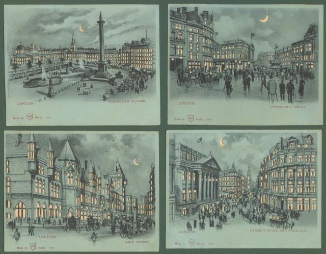 INGHILTERRA. London. Quattro cartoline d'epoca inizio '900 traforate,  da guardare in controluce per avere un effetto notturno.