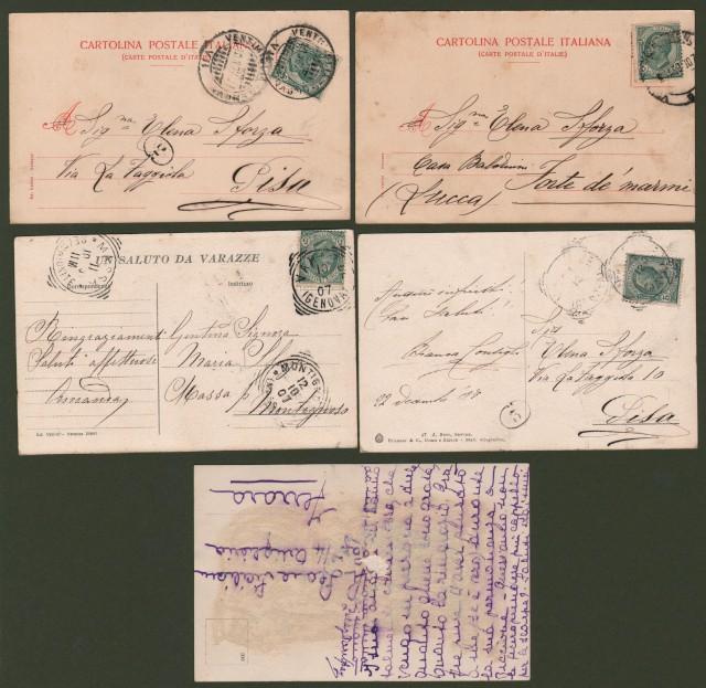 VARAZZE (Genova). 5 cartoline d'epoca inizio '900 (di cui 4 viaggiate nel 1907).