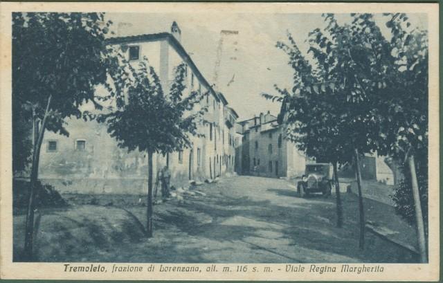 TREMOLETO (Pisa). Frazione di Lorenzana. Viale Regina Margherita. Cartolina d'epoca viaggiata nel 1935
