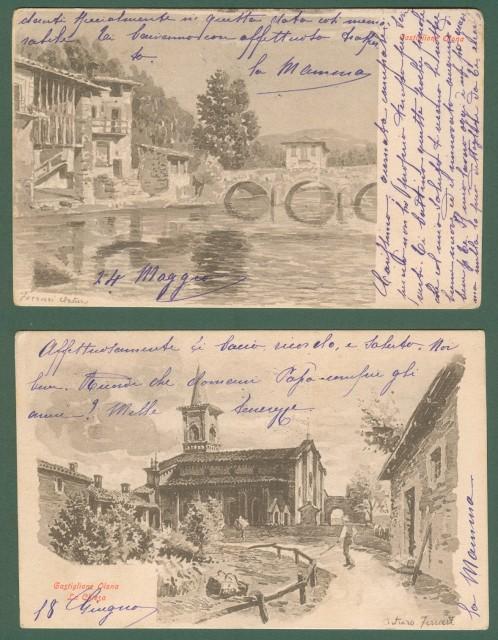 CASTIGLIONE OLONA (Va). Due diverse cartoline d'epoca con scorci del paese. Disegni in color seppia di A.Ferrari