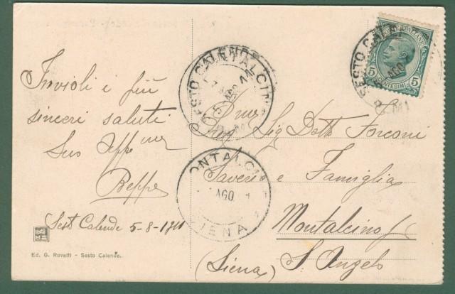 SESTO CALENDE, Milano. Passeggiata. Cartolina d'epoca viaggiata nel 1911
