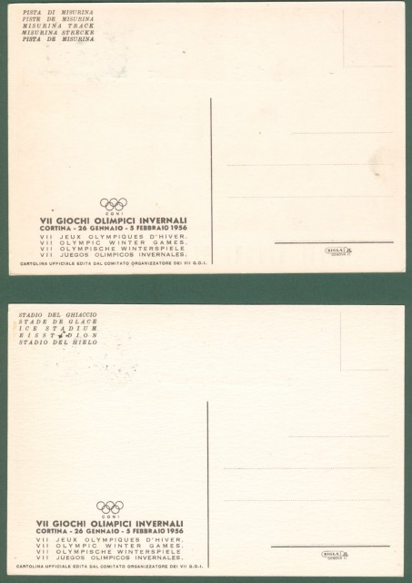 *MANCIOLI. Quattro cartoline disegnate a colori per CORTINA 1956 VII GIOCHI OLIMPICI INVERNALI.
