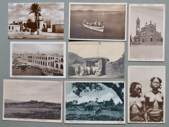 AFRICA ORIENTALE ITALIANA. Otto cartoline d'epoca anni trenta.