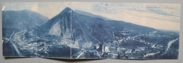VITTORIO VENETO, Treviso. Panorama. Cartolina d'epoca formata da cinque parti ripiegate a fisarmonica, viaggiata nel 1921