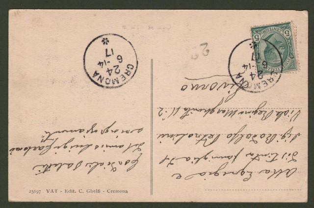 CREMONA. Piazza e Albergo Roma. Cartolina d'epoca viaggiata nel 1914.