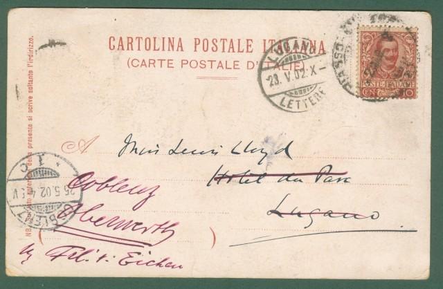 COMO, PLINIUS GRAND HOTEL. Cartolina d'epoca viaggiata nel 1902.