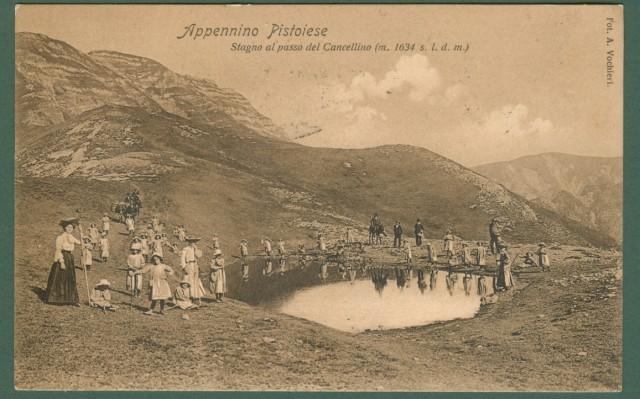 PISTOIA. Appennino Pistoiese. Stagno al passo del Cancellino. Cartolina d'epoca viaggiata nel 1914.