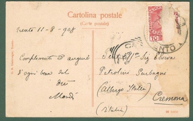 TRENTO. Viale del Fersina. Cartolina d'epoca viaggiata nel 1908.
