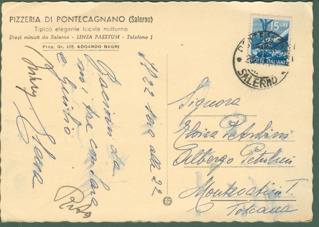 SALERNO. Pizzeria di Pontecagnano. Cartolina viaggiata nel 1950.
