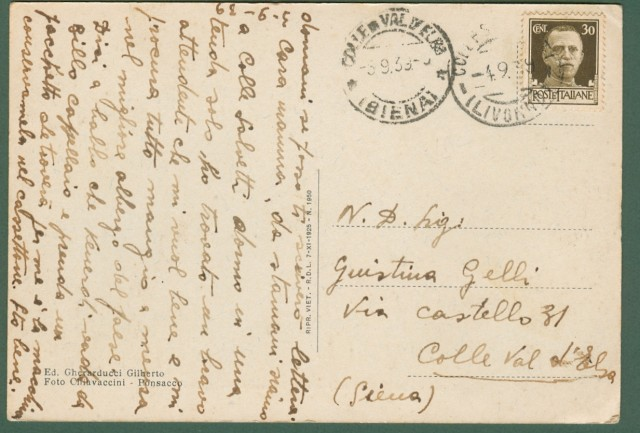 COLLE SALVETTI (Livorno). Via Vincenzo Malenchini. Cartolina d'epoca viaggiata nel 1939.