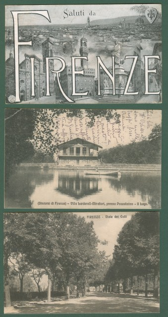 FIRENZE. Tre cartoline d'epoca viaggiate tra il 1912 e il 1917.