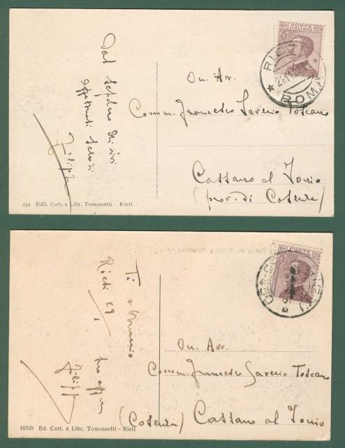 Lazio. RIETI. Panorama e Ponte Nuovo sul Velino. Due cartoline d'epoca viaggiate nel 1927