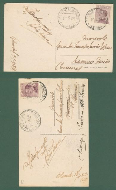 Lazio. BELMONTE SABINO, Rieti. Due cartoline d'epoca viaggiate nel 1928
