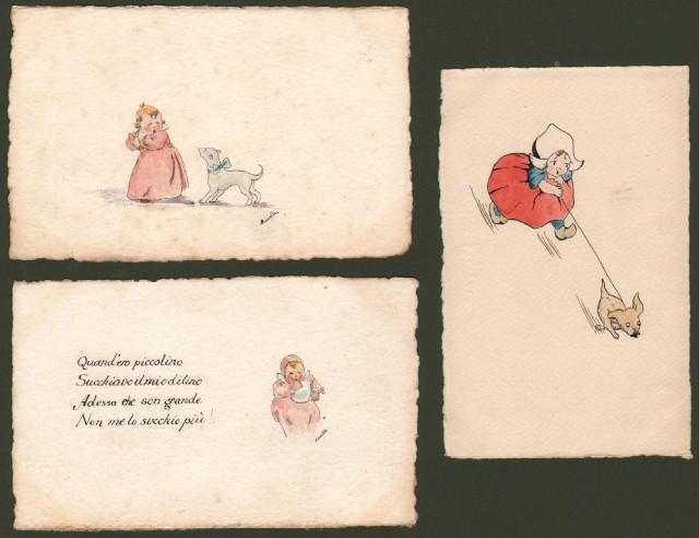 QUATTRO CARTOLINE D'EPOCA disegnate a mano e acquarellate.