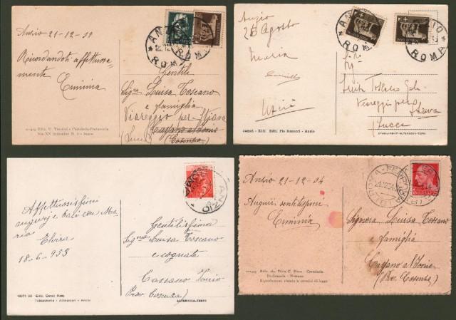 ANZIO, Roma. 4 cartoline d'epoca viaggiate tra il 1934 e il 1953.