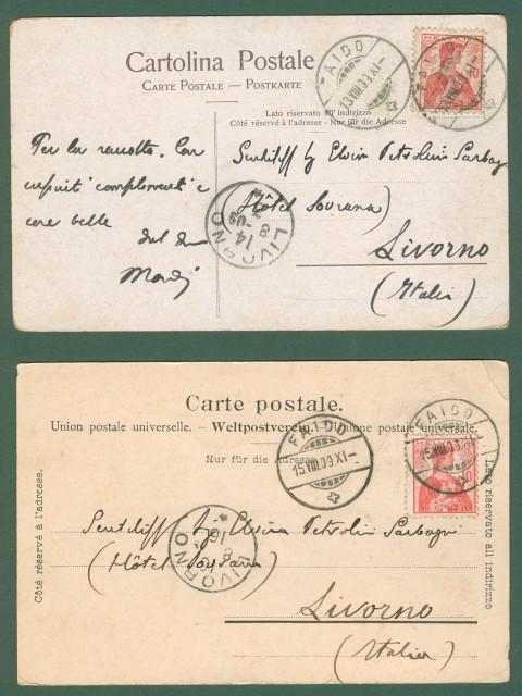 FAIDO, CANTONTICINO, Svizzera. Due cartoline d'epoca viaggiata nel 1909