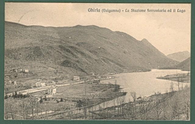Lombardia. GHIRLA (Valganna),Varese. Stazione ferroviaria e lago. Cartolina d'epoca viaggiata nel 1910